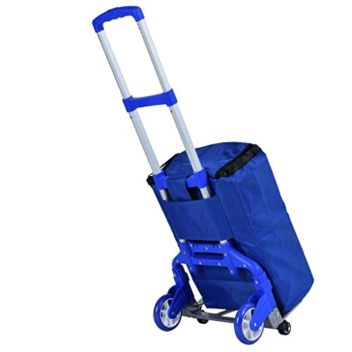 Amazon.com: DQMSB Aluminum Alloy Trolley Car Portable Folding Trolley Luggage Cart Small Trailer Shopping Cart Trolley Cargo Truck (Color : Red): Home & ...