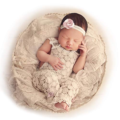 Lace Slate - Amelia Lace Baby Romper Ivory Vintage Slate Blue - 9 Months