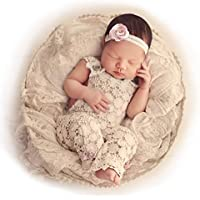 Newborn Baby & Toddler Lace Girl Romper Headband (Age 0-12 Months) American Designed