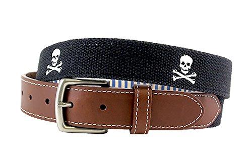 Jolly Roger Skull and Bones Embroidered Men's Belt (Black) by J.T. Spencer (40) ()