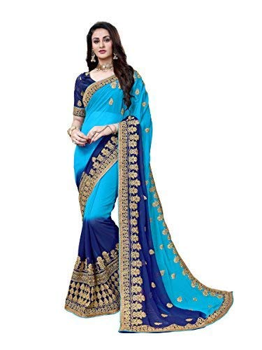 - Manohari Women's Georgette Saree with Blouse Piece(MN353_Blue_Free Size)
