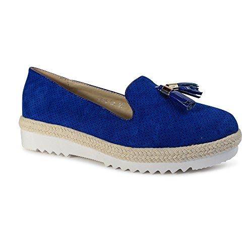 Schuhtraum Damen Slipper Plateau Sneakers Ballerinas Glitzer Nieten ST551  Blau Quaste 6c977c3e48