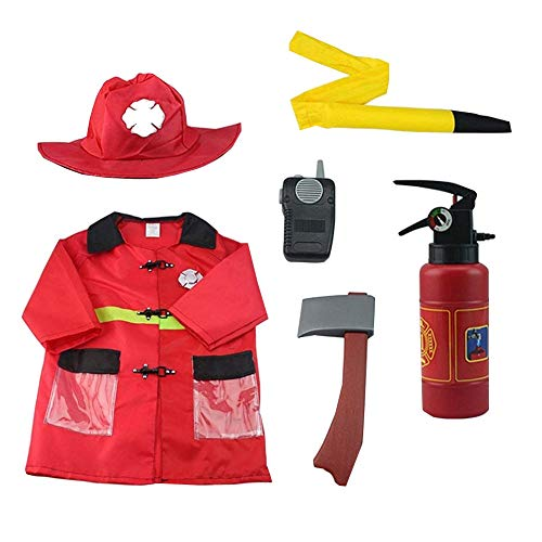 zhruiqun Kids Firefighter Halloween Costumes Boys Party Fancy Dress with Hat