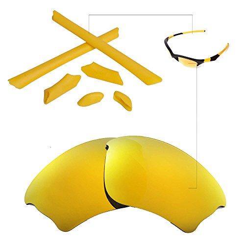 Walleva Polarized Lenses And Rubber Kit(Earsocks+Nosepads) For Oakley Half Jacket XLJ (24K Gold Mirror Coated Polarized Lenses + Yellow - Replacement Lenses Oakley Jacket Half
