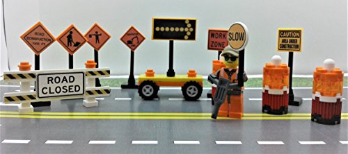 Custom Toys & Hobbies City CUSTOM construction site Traffic signs. set. Ready to - City Site Construction Set