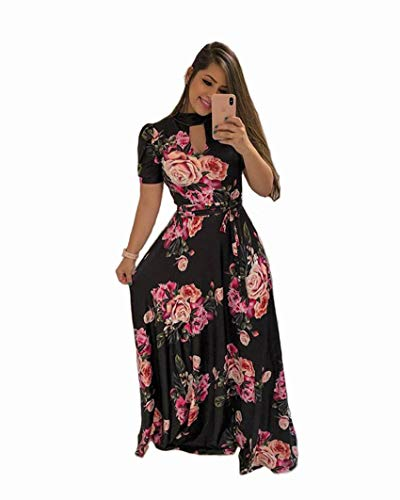 Aublary Women's Short Sleeve Floral Dress Casual Stretch Maxi Long Dresses with Belt, Black + Rose L