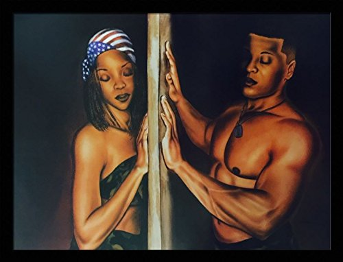 I Feel You (Soldier - Romantic Couple) - Fred Mathews 24x32 Black Framed - African American Black Art Print Wall Decor Poster #USB2255 us9i17
