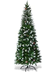 Goplus Artificial Pencil Christmas Tree, Snow Flocked with Pine Cones and Metal Stand, for Xmas Indoor and Outdoor Décor