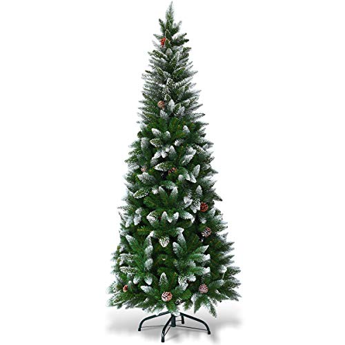 Goplus Artificial Pencil Christmas Tree, Snow Flocked with Pine Cones and Metal Stand, for Xmas Indoor and Outdoor Décor (6ft) (Flocked Christmas Trees)