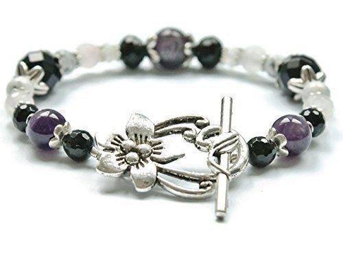 Stress Relief & Anti Anxiety Bracelet Featuring Natural Gemstones Rose Quartz, Amethyst, Black Onyx, Moonstone, Howlite, sleep aid, crystal healing for -