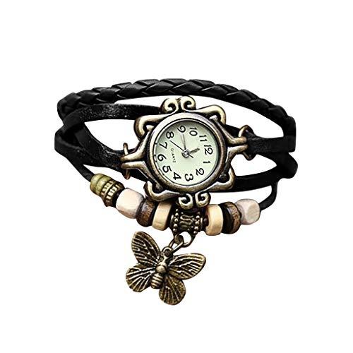 (IslandseNewest Quartz Fashion Weave Around Leather Bracelet Lady Woman Wrist Watch (Black))
