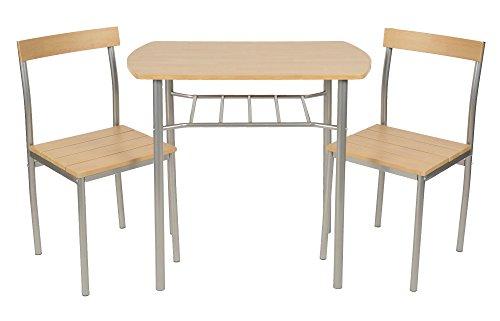 ts-ideen 3er Set Essgruppe Tisch Stuhl platzsparend Esstisch 3-teilig Küchentisch mit Stühlen aus Alugestell in Silber und Holzoptik 50 x 82 cm für Esszimmer Küche