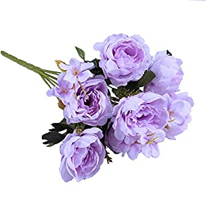 Evoio 2Pcs Artificial Oil Painting Peony Silk Flowers, Wedding Home Decoration DIY, Green and Purple (Purple) 12
