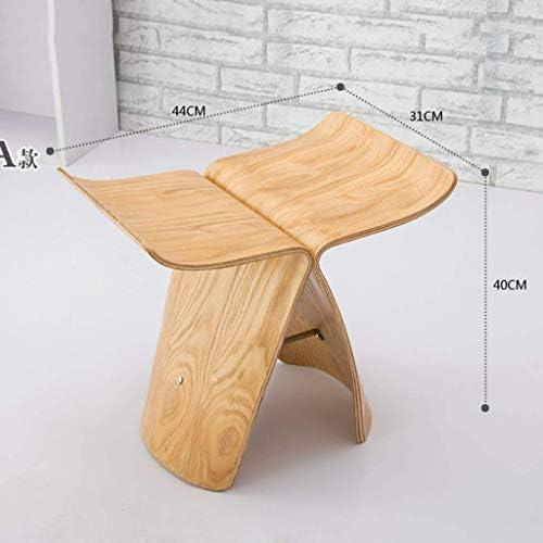 Wangcjd Tabouret en Bois Créatif Petit Banc Salon Chaise Papillon en Bois Chaussures De Changement De Mode Simple Courbé en Bois Artisanat