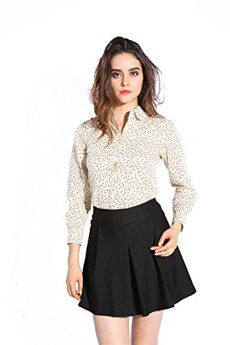 Dioufond® Camisas Mujer Slim Fit Manga Larga Estampada de Lunares Beige