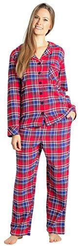 (EVERDREAM Sleepwear Womens Flannel Pajamas, Long 100% Cotton Pj Set,Size Large Red)