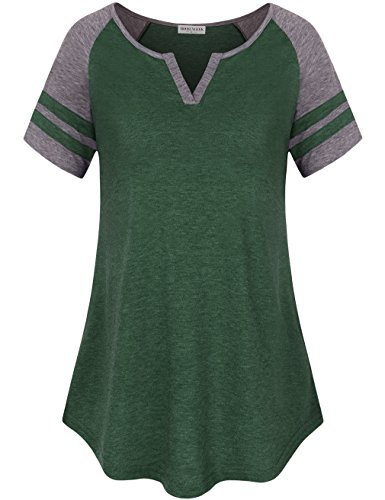 Stripe V-neck Tunic Top (MOOSUNGEEK Shirts For Sports, Plus Size Clothing Business Casual Wear Spring T Shirt Green Gray XL)