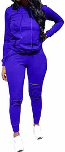 59d875d75d013 Women's 2 Piece Outfits - Ripped Hole Pullover Hoodies Sweatpants Sports  Tracksuit Jumpsuit Set Plus Size