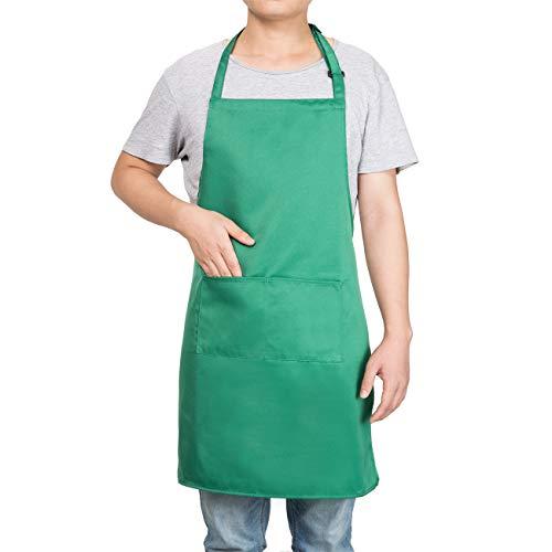 Green Kitchen Apron - DOYADA Two Pockets Adjustable Bib Adult Apron - Extra Long Ties - Heavy Duty Kitchen Apron, Money Apron, Waitresses Apron - Cooking Kitchen Aprons for Women