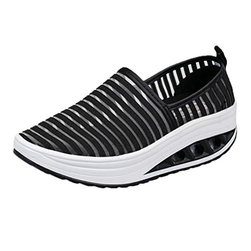 VEMOW Sports Outdoor Shoes for Women, Trainers Mary Janes Cute Lace-up Flats Flip Flops Thongs Espadrilles Wedge Running Walking Dance, Fitness Casual Mesh Shake Platform Sneaker Black