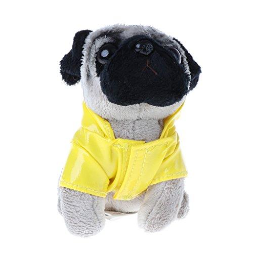 Dog Coat Plush - Jesse Pugger Dog in Raincoat Pug Plush Toy, 3.152.754.72inch / 8712cm, Mini Cute Soft Animal Doll Plush Keychain Gift for Kids Girls Boys (Yellow)