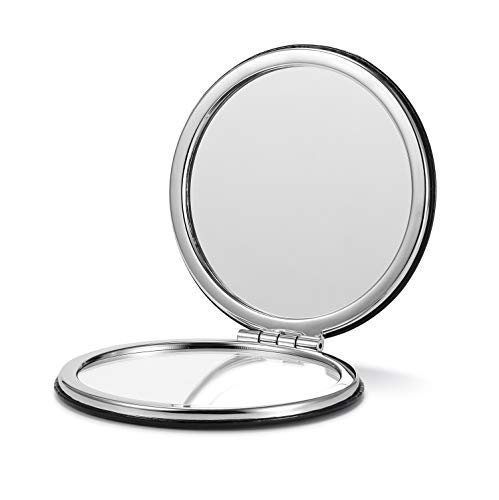 (OMIRO Compact Mirror, Round PU 1X/3X Magnification,Ultra Portable for Purses and Travel (Black))