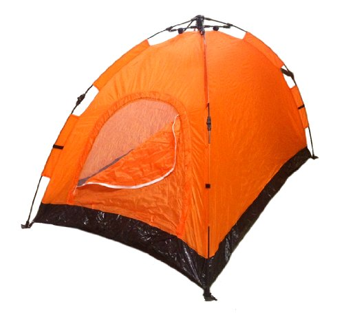 Instant Automatic Pop Up Backpacking Camping Hiking 2 Man Tent Orange Sealed by EDMBG