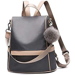 Women Backpack Purse Nylon Anti-theft Fashion Casual Lightweight Travel School Shoulder Bag(Grey)