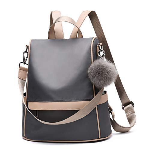 Women Backpack Purse Nylon Anti-theft Fashion Casual Lightweight Travel School Shoulder Bag(Grey) (Perfume Purse New)