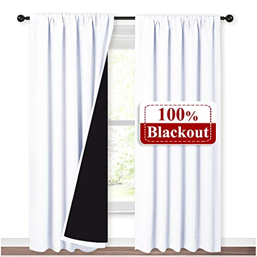 NICETOWN Sturdy Full Shading Curtains for Windows, Super Heavy-Duty Black Lined Blackout Curtains with Rod Pocket for Bedroom, Privacy Assured Window Treatment (White, Pack of 2, 52