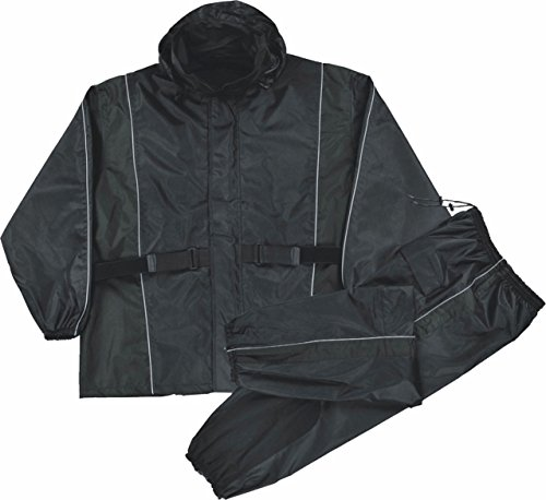 Milwaukee Leather Men's Black Waterproof Rain Suit w/ Reflective Piping & Heat Guard (Black, L) by Milwaukee Leather (Image #1)