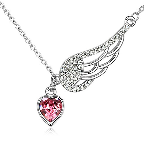 Pink or Blue Angel Heart Wing Pendant Necklace for Women Made With Swarovski Crystals - BOX, CARD, ENVELOPE INCLUDED FOR EASY GIFTING (Rose - Gifts Best Last Minute