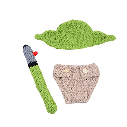 CX-Queen Newborn Infant Baby Photography Prop Crochet Yoda Hat and Lightsaber Cover Set (Yoda Hat)