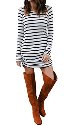 Women's Dresses Printed Sleeve Long As1 Tunic Baggy Comfy Stripes Scoop Top dqztt8gw