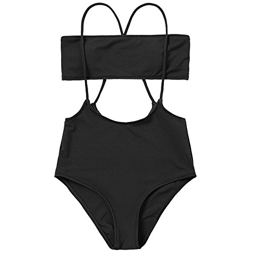 ZAFUL Women's Two Piece Ribbed Bandeau Top and High Waisted Slip Bikini Bottoms (Black, S)