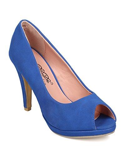 DbDk FK44 Women Nubuck Peep Toe Stiletto Pump - Blue (Size: 10) (Blue Peep Toe)