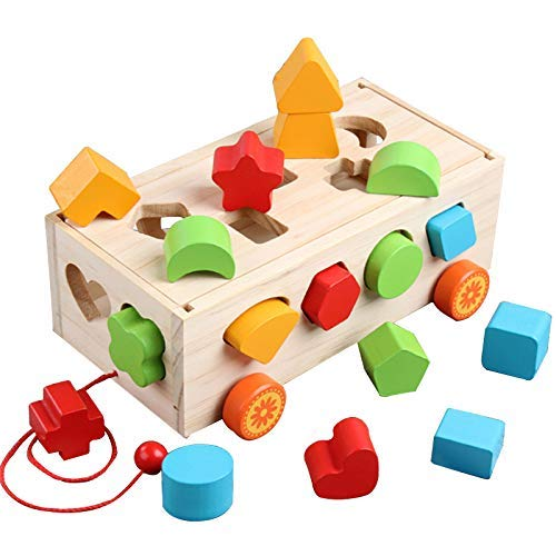 (Wooden Toy Shape Sorter Bus Classic Push Pull Truck Toy for Baby and Toddlers Recognition Color Geometry Learning Toy,Educational Preschool Toy for Kids 3,4,5 Years Old ( 9.45
