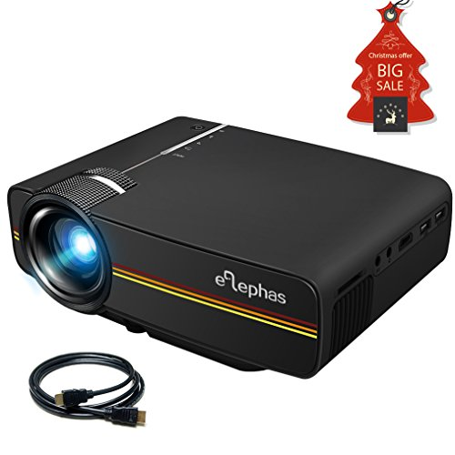 ELEPHAS LED Mini Video Projector, With 1200 Luminous Efficiency Support 1080P Portable Pico Projector Ideal for Home Theater Cinema Movie Entertainment Games Parties, Black