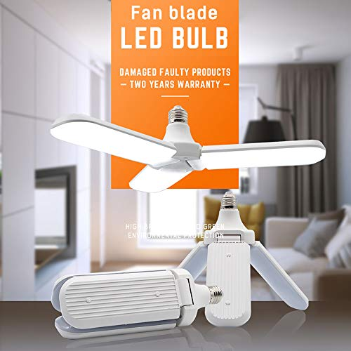 Foldable LED Bulb, Fan Blade LED Garage Light 45W Cold White, E26 Foldable 6500K Ultra-bright Ceiling Lamp Bulb for Home Garage Porch Backyard Garden