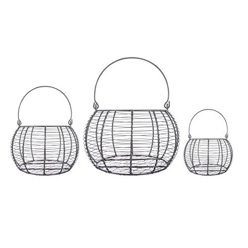 Home Traditions Vintage Metal Wire Kitchen Baskets, Set of 3 - Basket Wire Egg