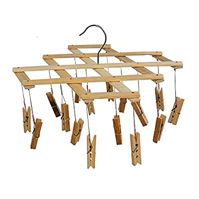 Ayygift SET OF 2 Durable Foldable Wooden Airer Laundry Rack Clothes Sock Hanger 16 Clips Clamps - The best solution for Laundry drying for small clothes, socks, towels etc. 16 clamps each, fordable, modern high quality life Made of wood, durable - laundry-room, entryway-laundry-room, drying-racks - 41UyJos144L. SS400  -