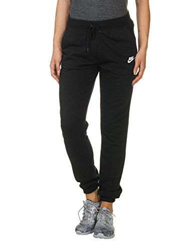 (NIKE Women's Sportswear Regular Fleece Pants, Black/Black/White, Small)