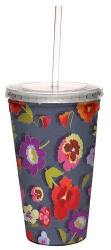 (Tree-Free Greetings cc33739 Secret Garden Floral on Denim by Nel Whatmore Artful Traveler Double-Walled Cool Cup with Reusable Straw, 16-Ounce)