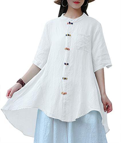 YESNO Women Irregular Curved Tail Hemline Chinese Qipao Shirts Long Summer Linen Blouse Half Sleeve Colored Frog EKA (XL, White) ()