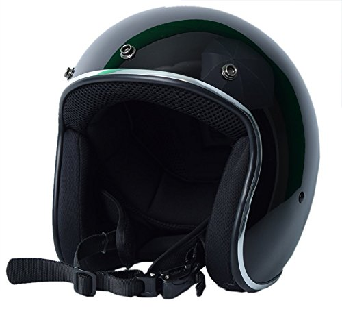 Bikerhelmets.com - Sick Lid 3/4 Retro Style Motorcycle Helmet - DOT Approved - Gloss Black - (Dot 3/4 Helmet)