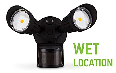 ASD LED Security Light, 1,2,3 Head with 150° Motion and PC, Commercial Grade, 10W, 20W, 30W Black and White, 5000K (Daylight)