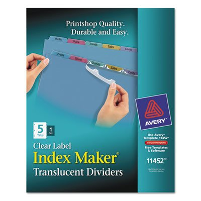 (Avery Index Maker Translucent Clear Label Divider - 5 x Tab Blank - 5 Tab(s)/Set - 8.5amp;quot; x 11amp;quot; - 5 / Set - Multicolor Tab )