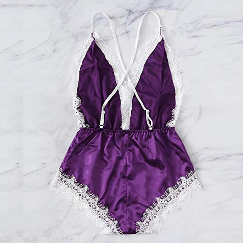 Women's Sissy Sexy Deep V Neck Nightdress Satin Siamese Lace Chemise Silk Bodysuit Nightgown Sleepwear Babydoll Purple by WQS L (Image #2)