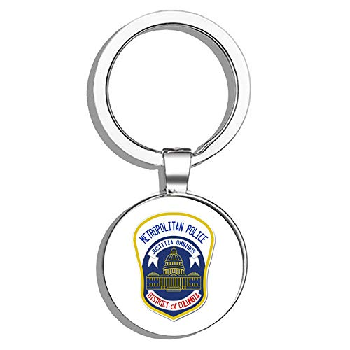 HJ Media Washington DC Police Metropolitan Police District of Columbia Metal Round Metal Key Chain Keychain Ring ()