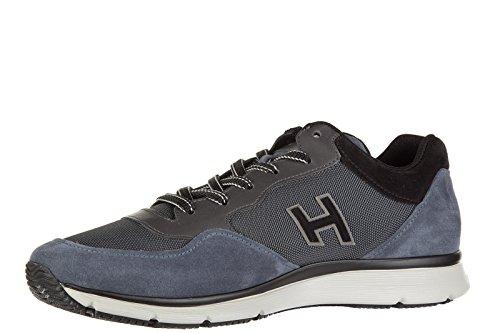 Hogan chaussures baskets sneakers homme en daim traditional tissu h flock blu